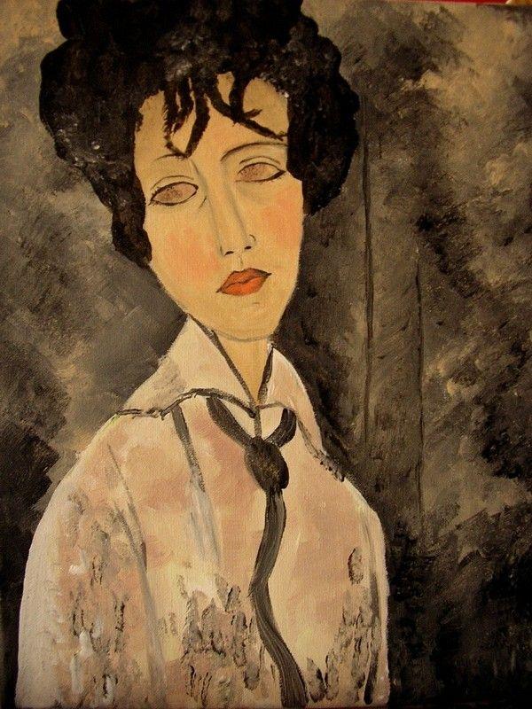 Populaire femme à la cravate ( Modigliani) WX32